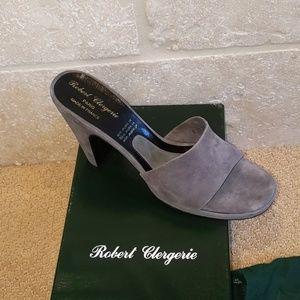 New Robert Clergerie Gray Suede Mules w/ platform